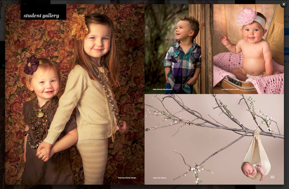 Child Portrait on left by Emily Rose Imagery. Featured in Hallmark Institute of Photography's 2015 catalog.