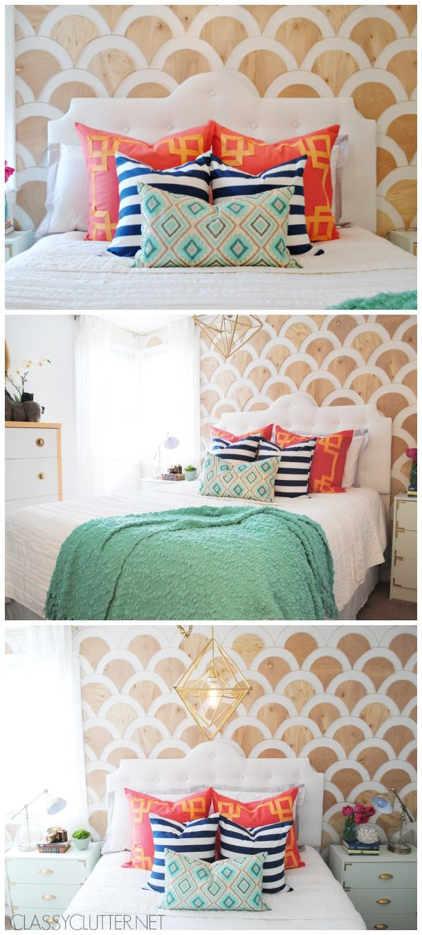 http://www.classyclutter.net/2014/05/diy-wood-scalloped-wall-tutorial.html  More fun geometrics.