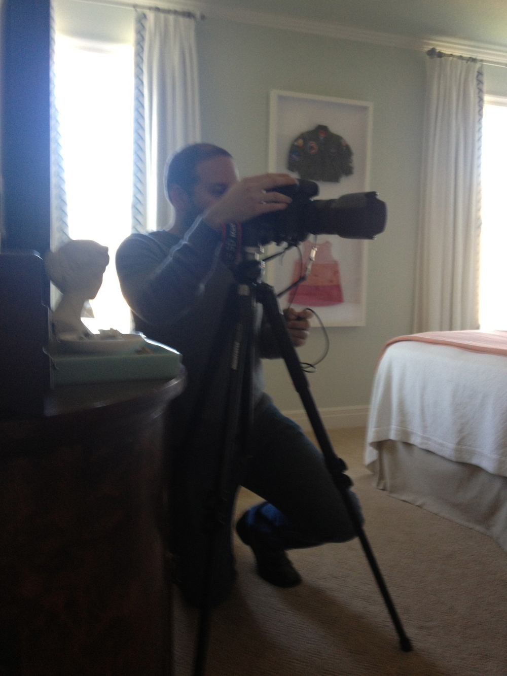 Aaron Leimkuehler, Spaces photographer, shoots in the master bedroom.  www.saranobledesigns.com