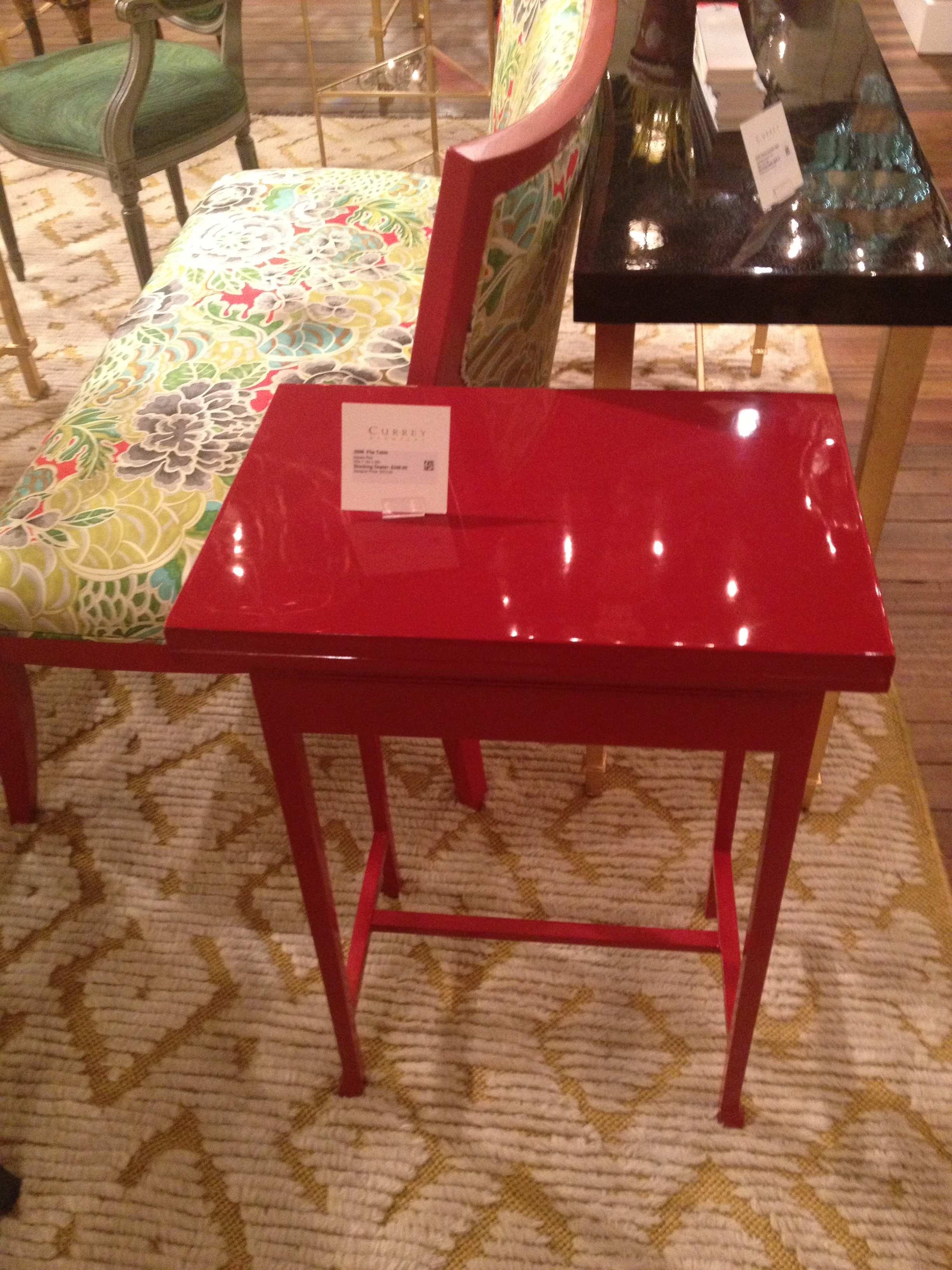 Currey Company's red lacquer side table is killer.
