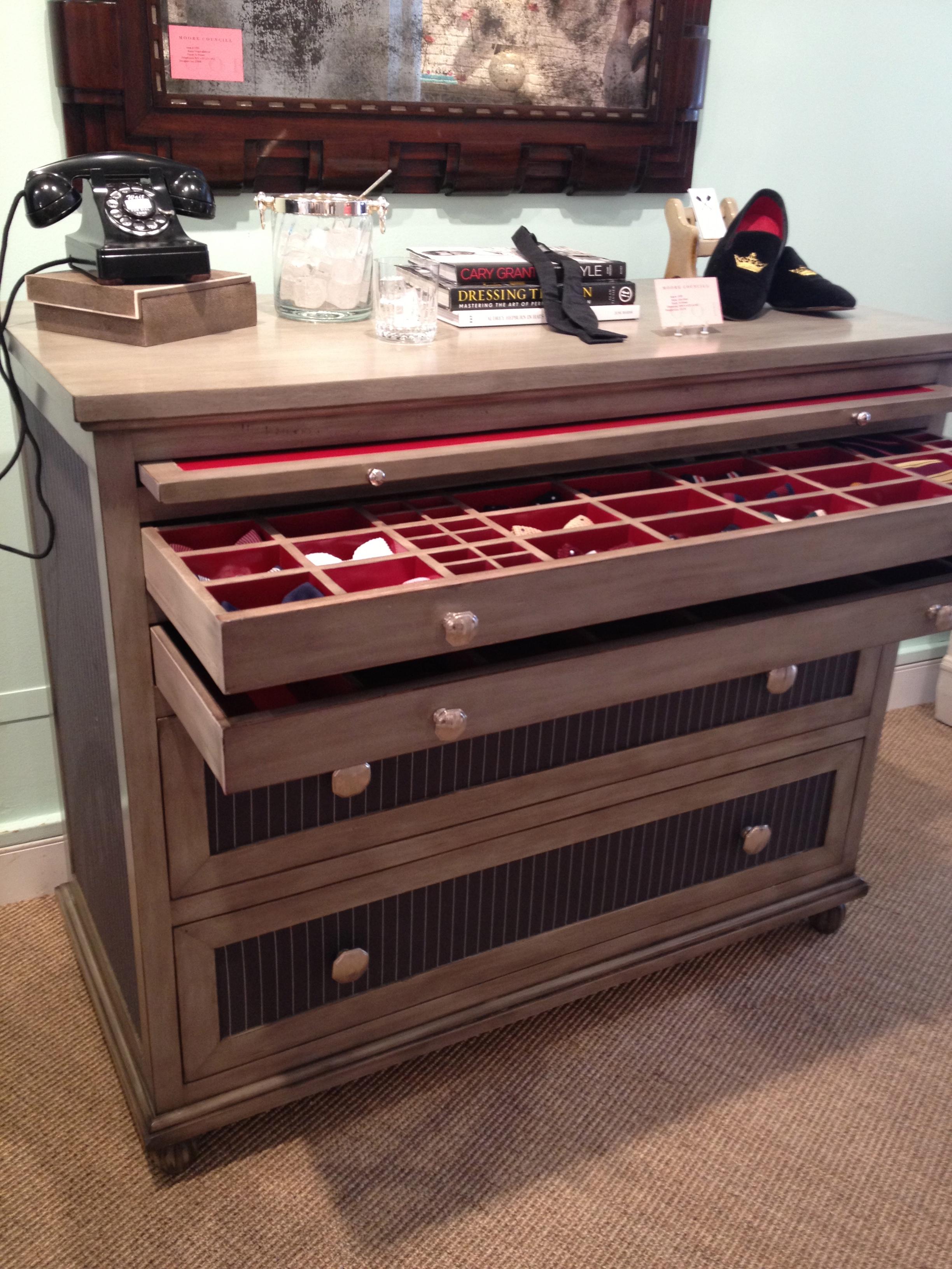 Moore Council's gentlemen's dresser with red liner.
