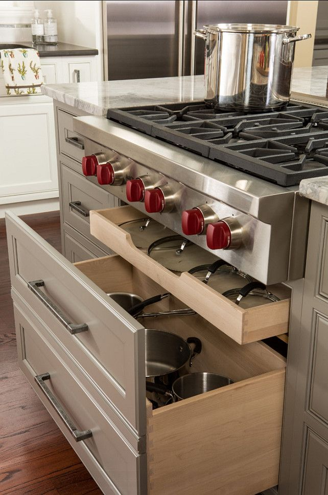 Who doesn't love Wolf's iconic red knobs. http://www.homebunch.com/transitional-kitchen-design-get-designer-look/