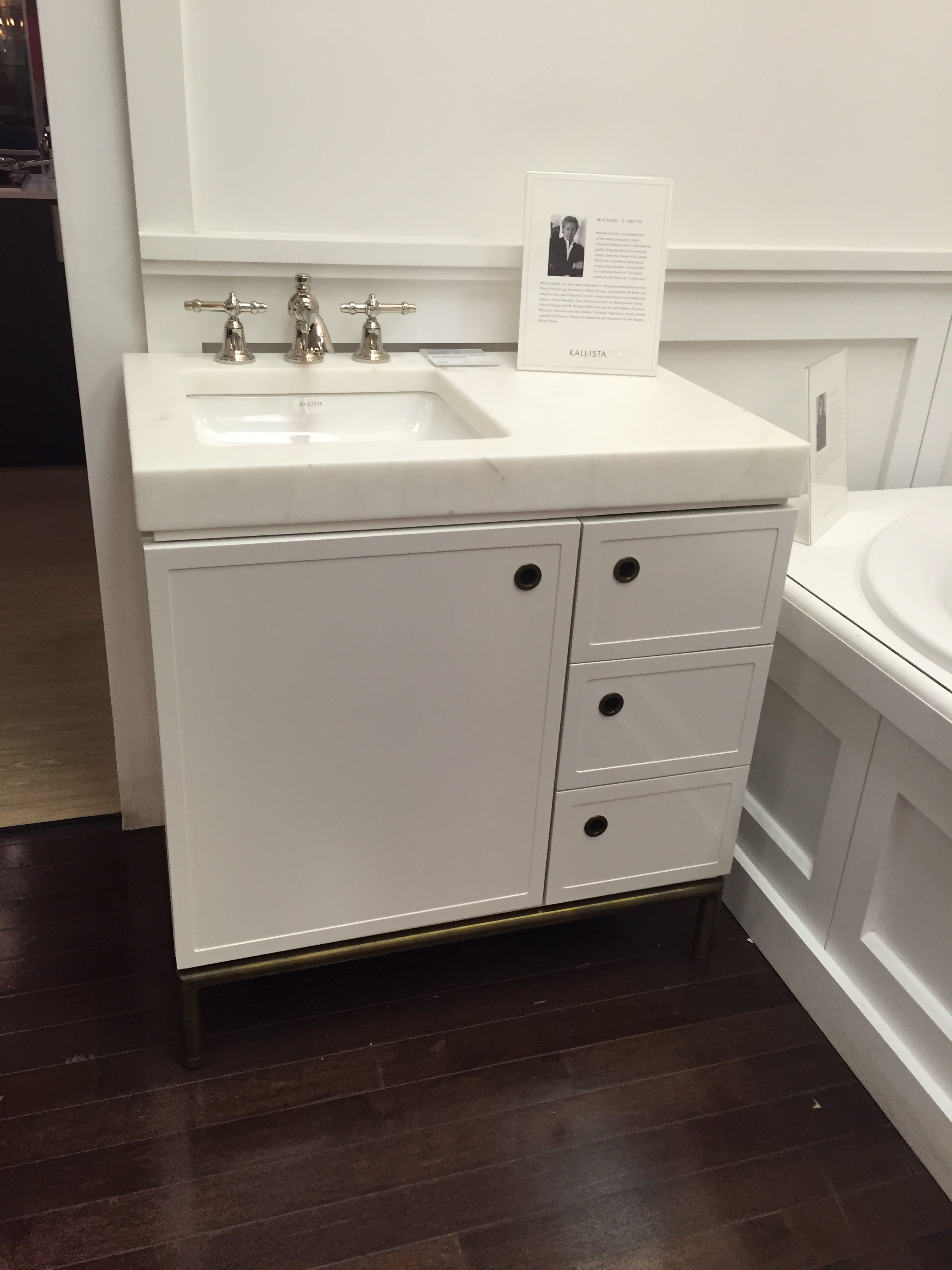 I have admired this Kalista vanity for years. And who won't want that slab of marble?