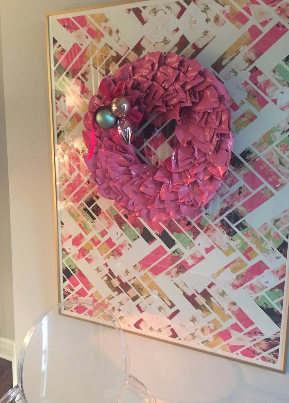 pink wreath on art