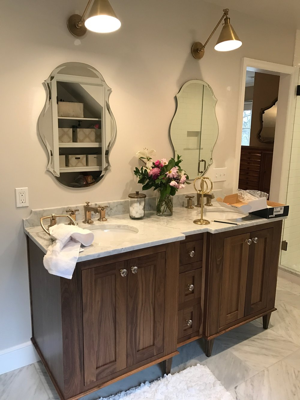 One sneak peak at my new favorite master bath!  Kay Julian's upstairs master bath is transformed.  Stay tuned for more on this story.