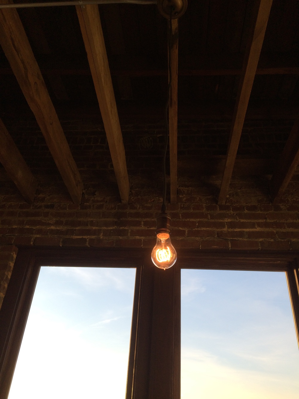 Edison bulb and exposed rafters
