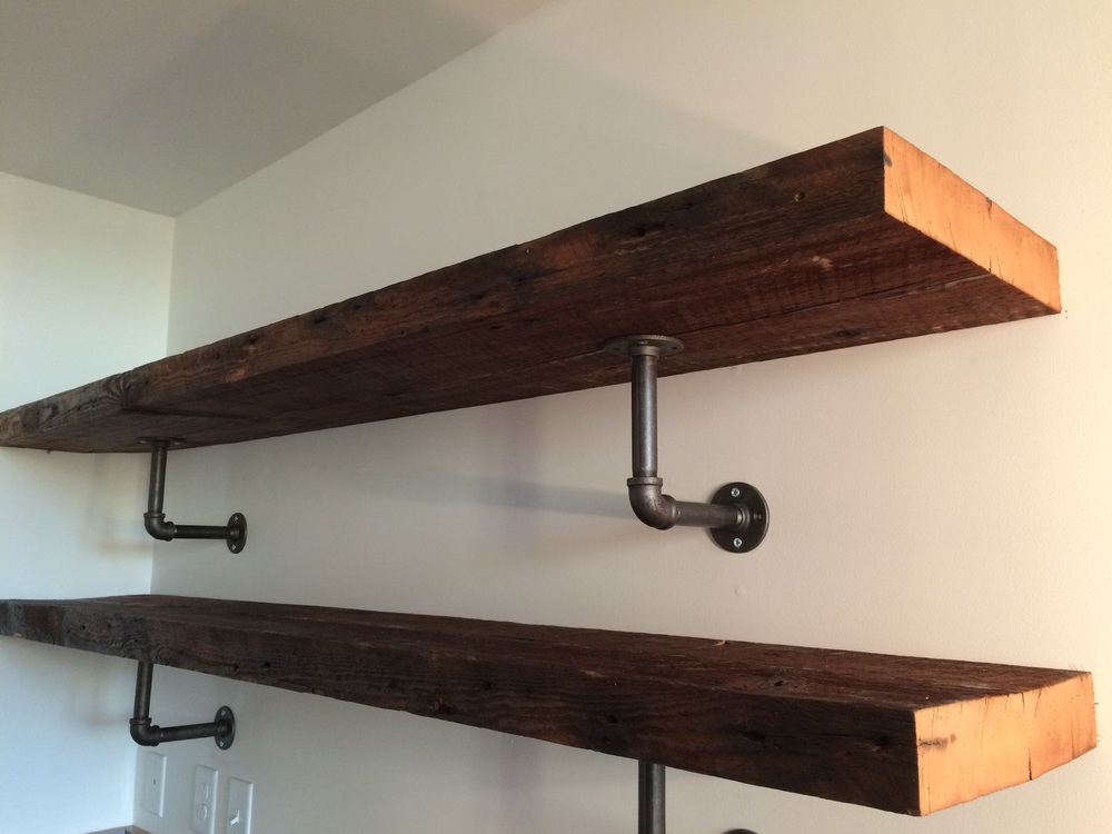 Reclaimed beams from the former loading dock, now at home in the kitchen