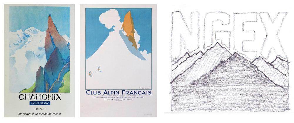 Vintage mountaineering illustrations inspiration.