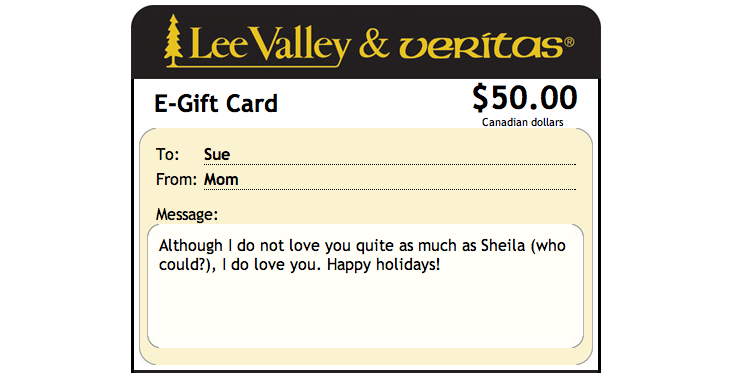 Funny message on e-gift card.
