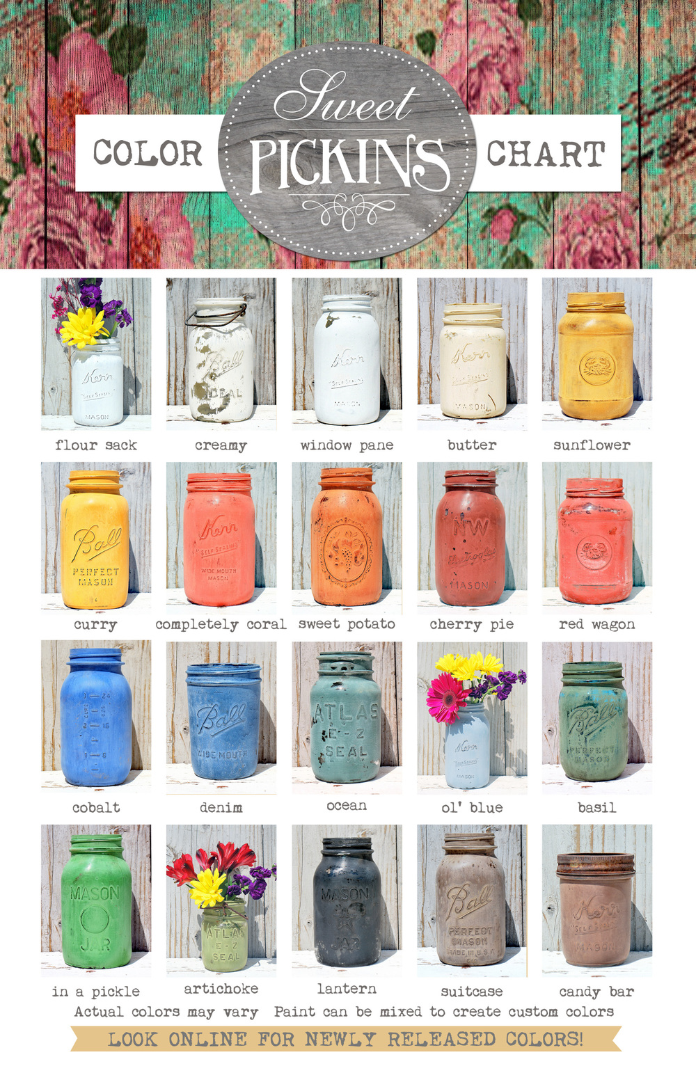 Sweet Pickins milk paint colour chart