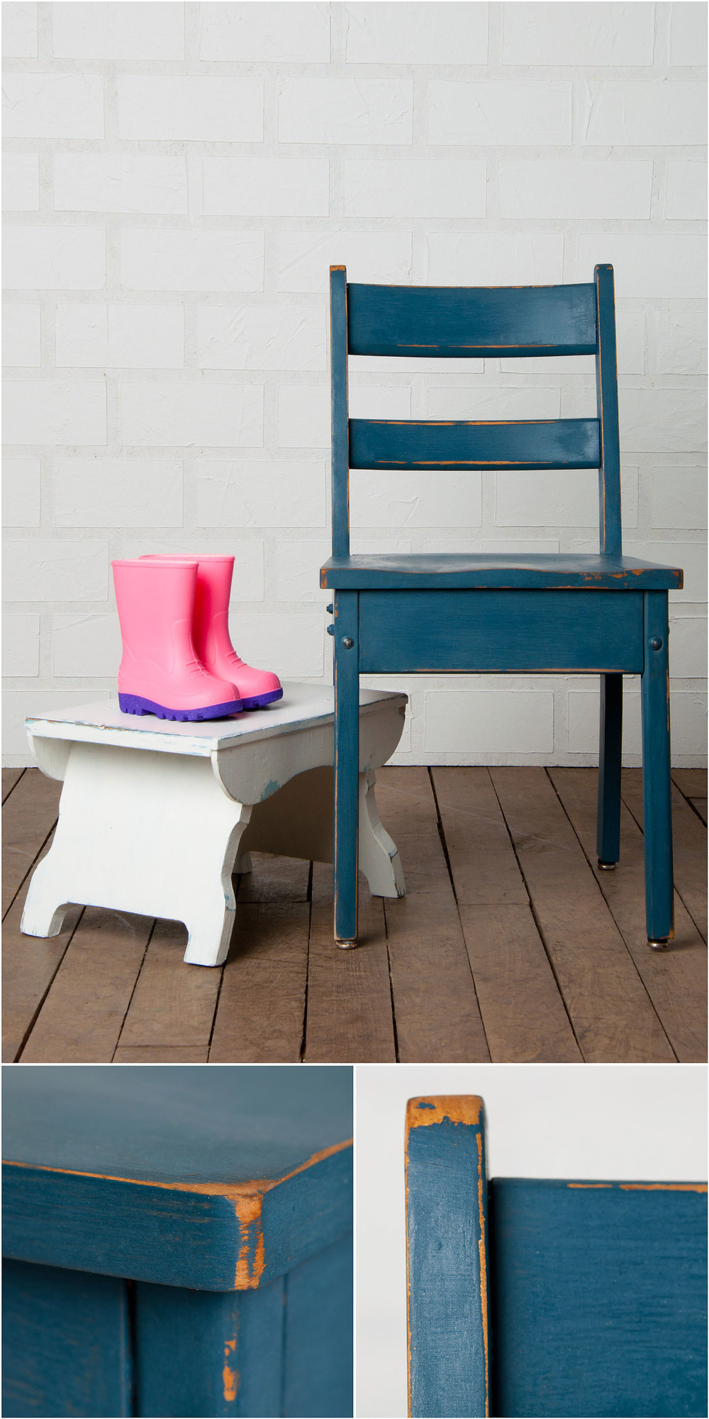 Chair painted in denim and stool painted in flour sack - Sweet Pickins milk paint - via My Painted Door (.com)
