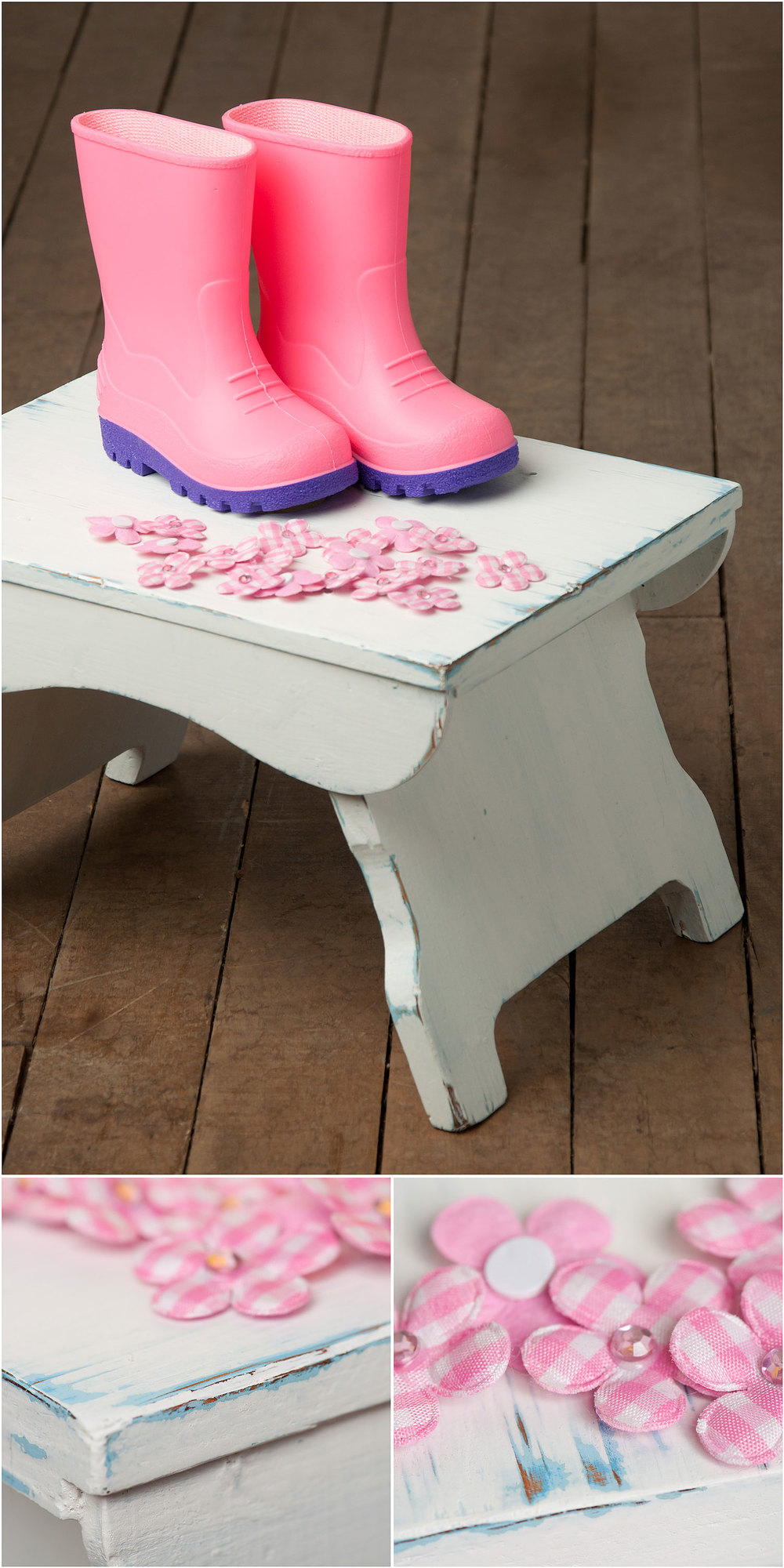 Stool painted in flour sack Sweet Pickins milk paint - via My Painted Door (.com)