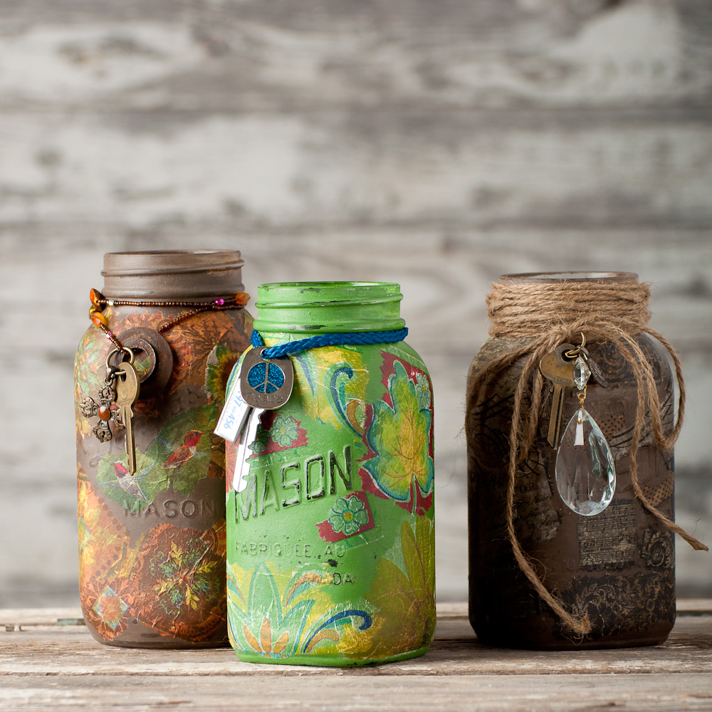 mason jars painted with Miss Mustard Seed's milk paint - via My Painted Door (.com)