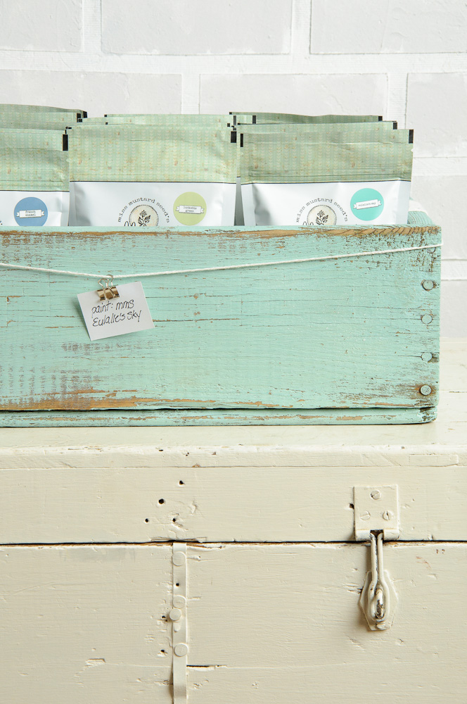 crate painted with Miss Mustard Seed's milk paint in Eulalie's Sky - via My Painted Door (.com)