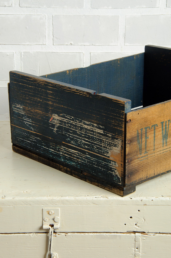 crate painted with Miss Mustard Seed's milk paint in Artissimo - via My Painted Door (.com)