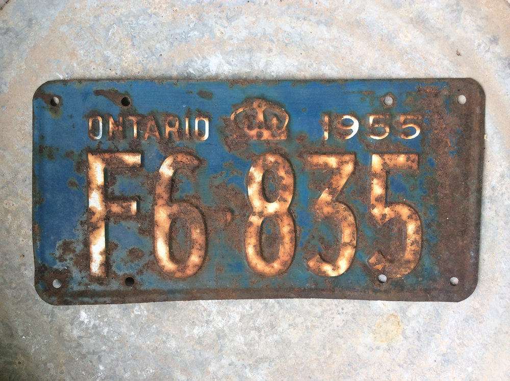 before photo of vintage licence plate painted with Miss Mustard Seed's Milk Paint via My Painted Door (.com)