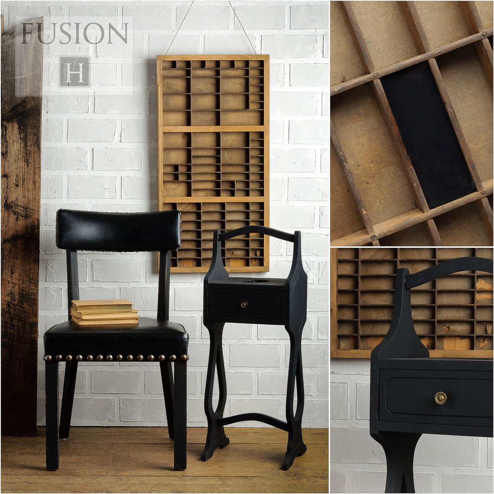 Fusion paint in coal black - via My Painted Door (.com)