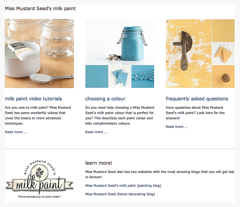 Learn more about Miss Mustard Seed's milk paint at My Painted Door (.com)
