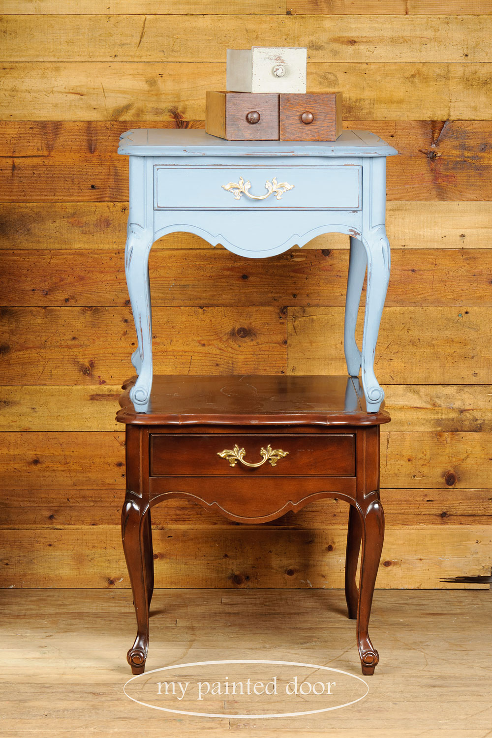 end table painted in rideau blue Homestead House milk paint - via My Painted Door (.com)