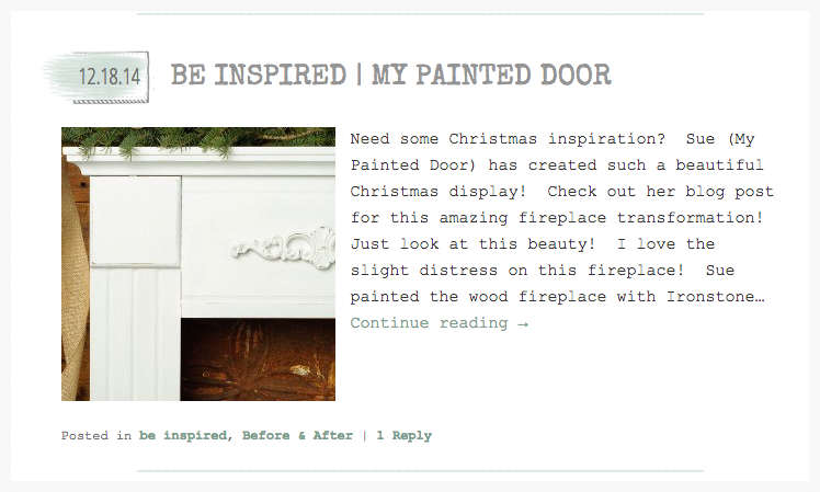 My Painted Door is featured on Miss Mustard Seed's website.