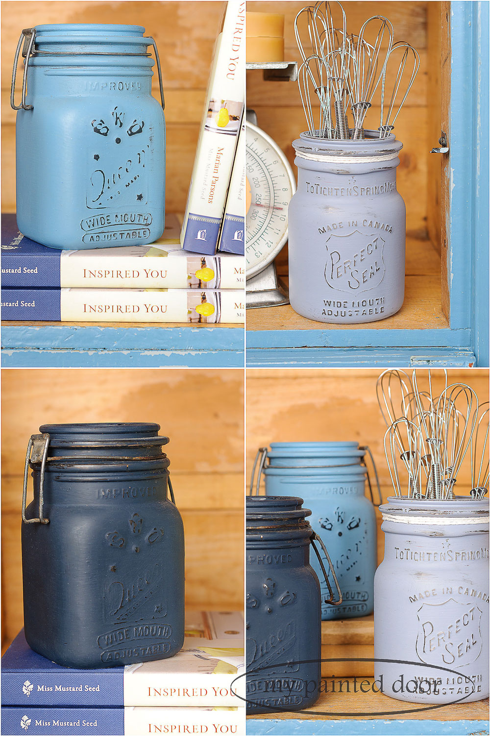 Mason jars painted in Miss Mustard Seed's milk paint - via My Painted Door (.com)