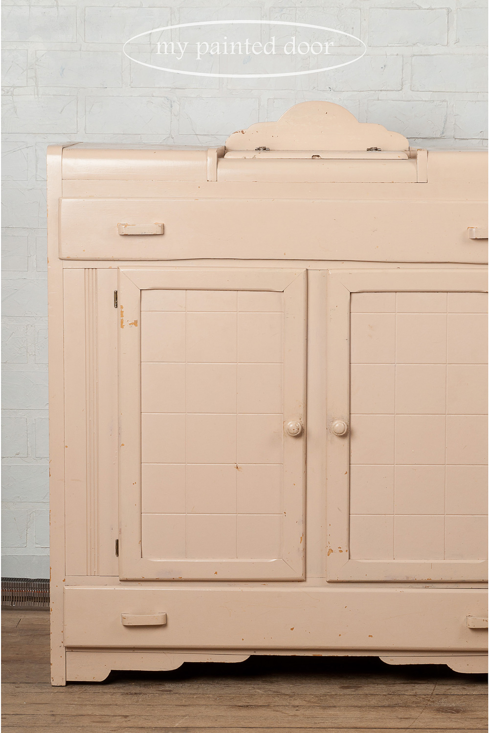 Before photo of cabinet painted with Miss Mustard Seed's milk paint - via My Painted Door (.com)