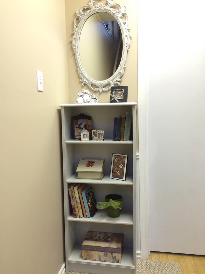 Cabinet and mirror painted in Miss Mustard Seed's milk paint in Grain Sack - via My Painted Door (.com)