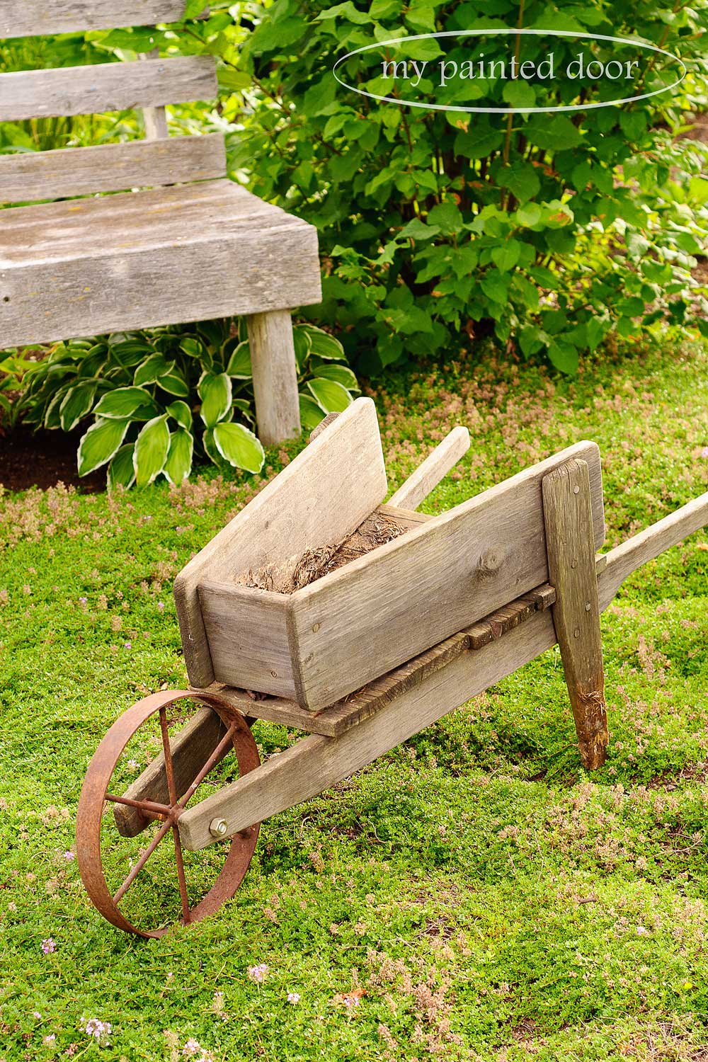 Wood wheelbarrow for my garden