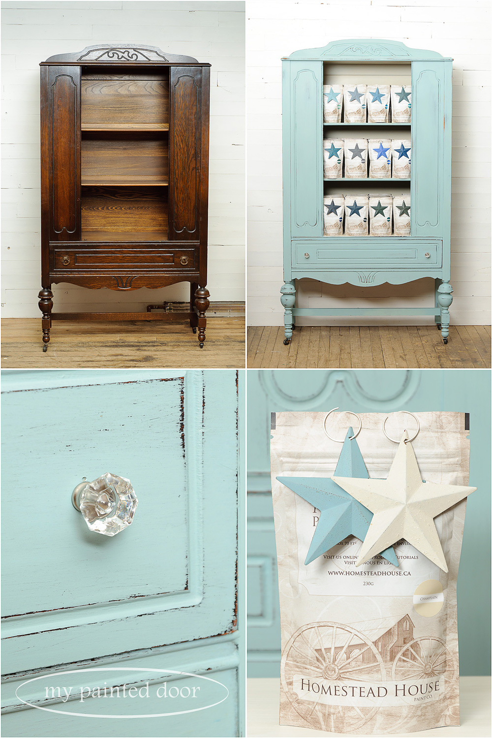 Before and after photos - Hutch painted in Homestead House Milk Paint in Loyalist and Champlain.