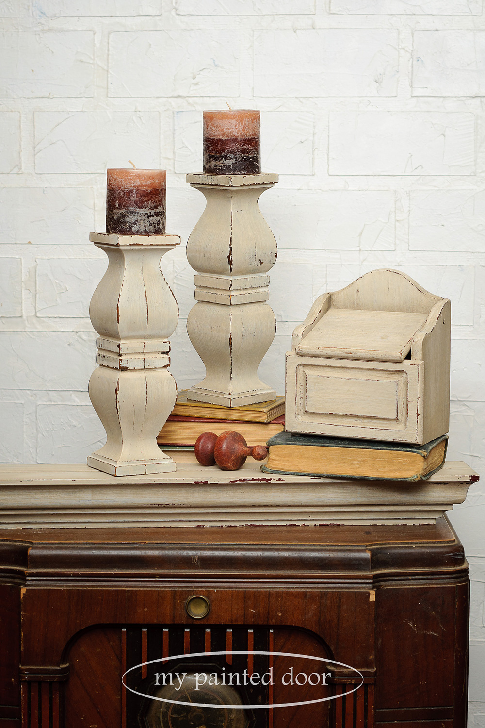 Vintage wood pieces painted with Miss Mustard Seed's Milk Paint in the colour Marzipan.
