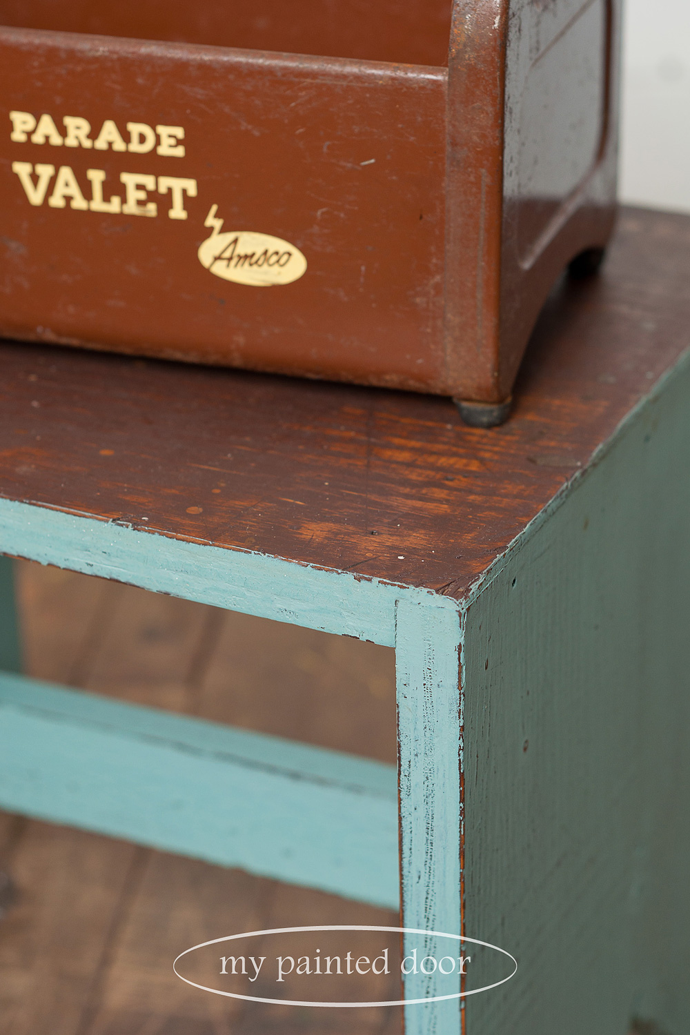 Stool painted in Homestead House Milk Paint in Loyalist.