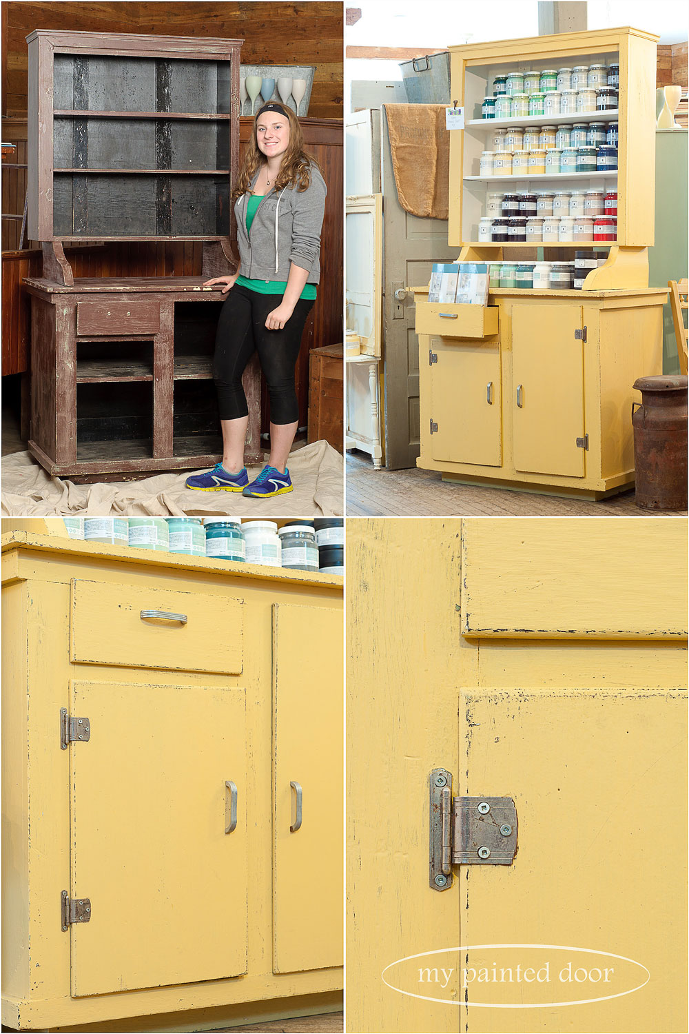 before and after - hutch painted in Fusion Mineral Paint in the the colours Casement and Prairie Sunset