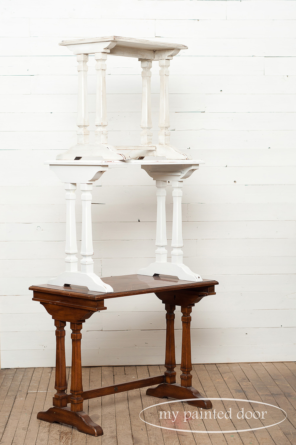 Set of three nesting tables - two are painted with Miss Mustard Seed's milk paint.