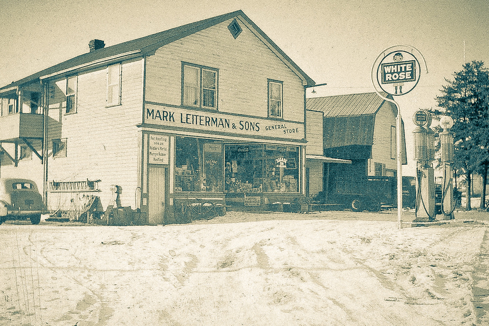 Old photograph of Mark Leiterman and Son's General Store.