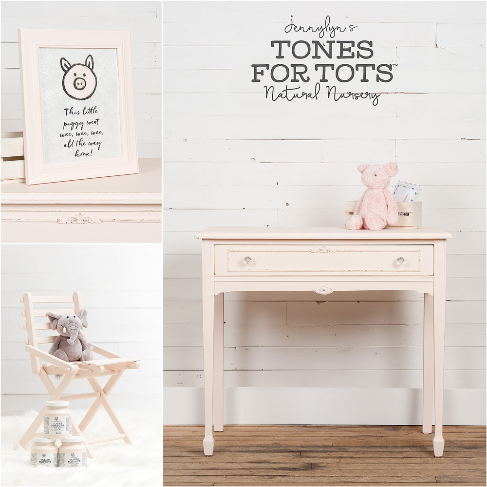 Frame, chair and table painted in Little Piggy from the Jennylyn's Tones for Tots Collection of Fusion Mineral Paint.