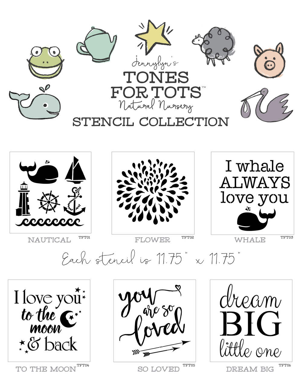 Jennylyn's Tones for Tots Stencil Collection available at My Painted Door.
