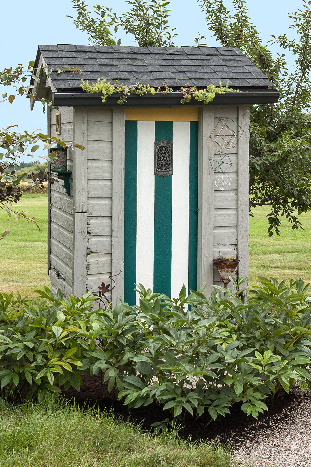 An outhouse turned into a garden shed