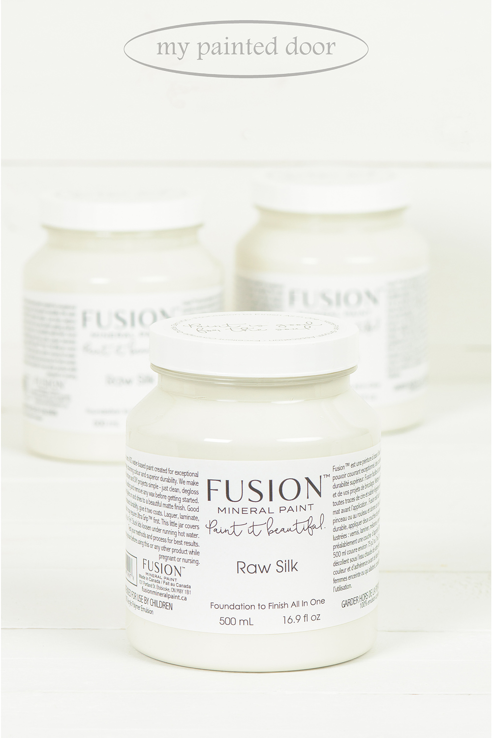 Raw Silk ▪ A warm old white with barely a hint of yellow and just a touch of grey. The colour of newly formed silk - the perfect off white.  Fusion Mineral Paint available at My Painted Door (.com)