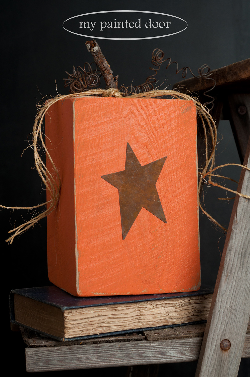 Rustic wood pumpkins painted in Tuscan Orange Fusion Mineral Paint