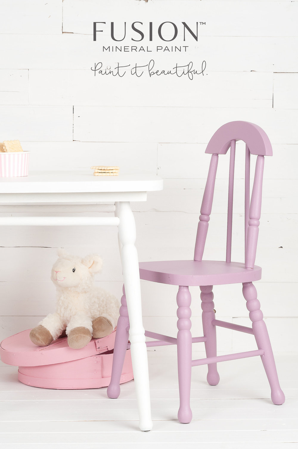 This little chair was painted a wonderful shade of mauve by using a custom blend of Fusion Mineral Paint. Fusion has 32 recipes available so that you can mix paint to create many wonderful colours like this one.