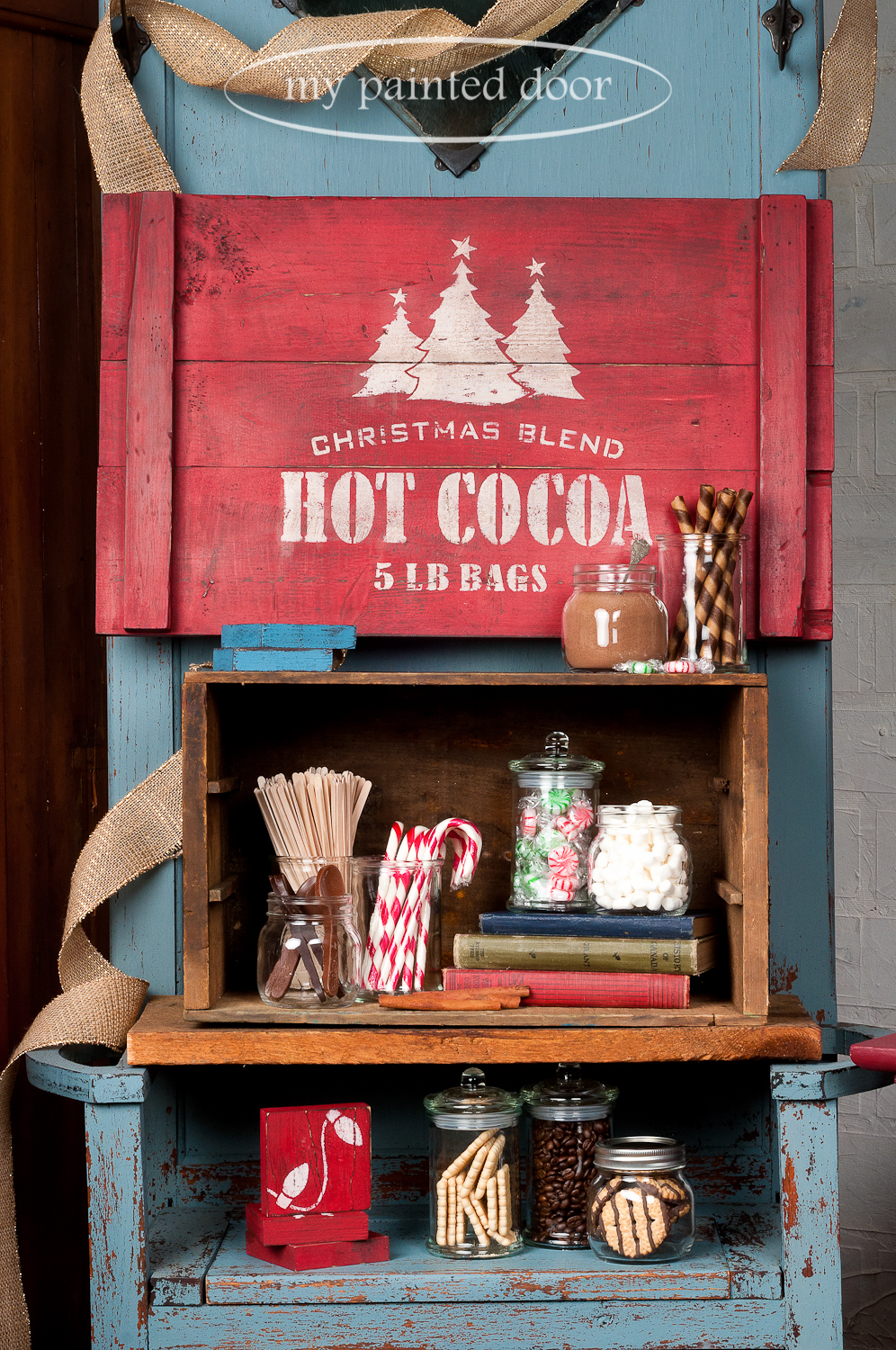 My Painted Door is offering Christmas Sign Workshops using Miss Mustard Seed's Milk Paint. You can easily create this Hot Cocoa sign! Our workshops will teach you tons of tips and techniques on how to take new wood and create an authentic looking vintage sign by distressing, layering colours and more.