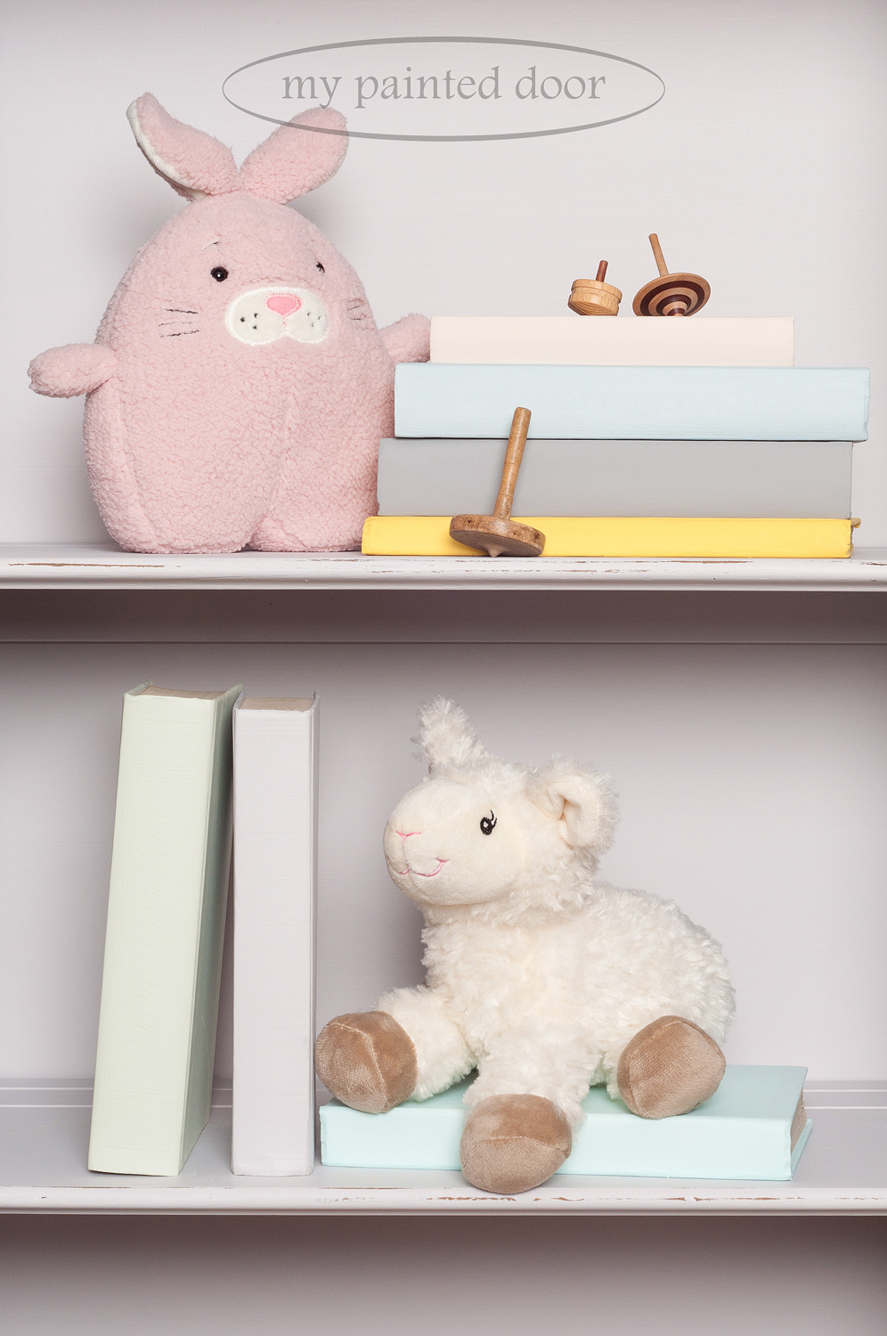 The books on this hutch are painted in all the colours in the Jennylyn's Tones for Tots Collection - Fusion Mineral Paint