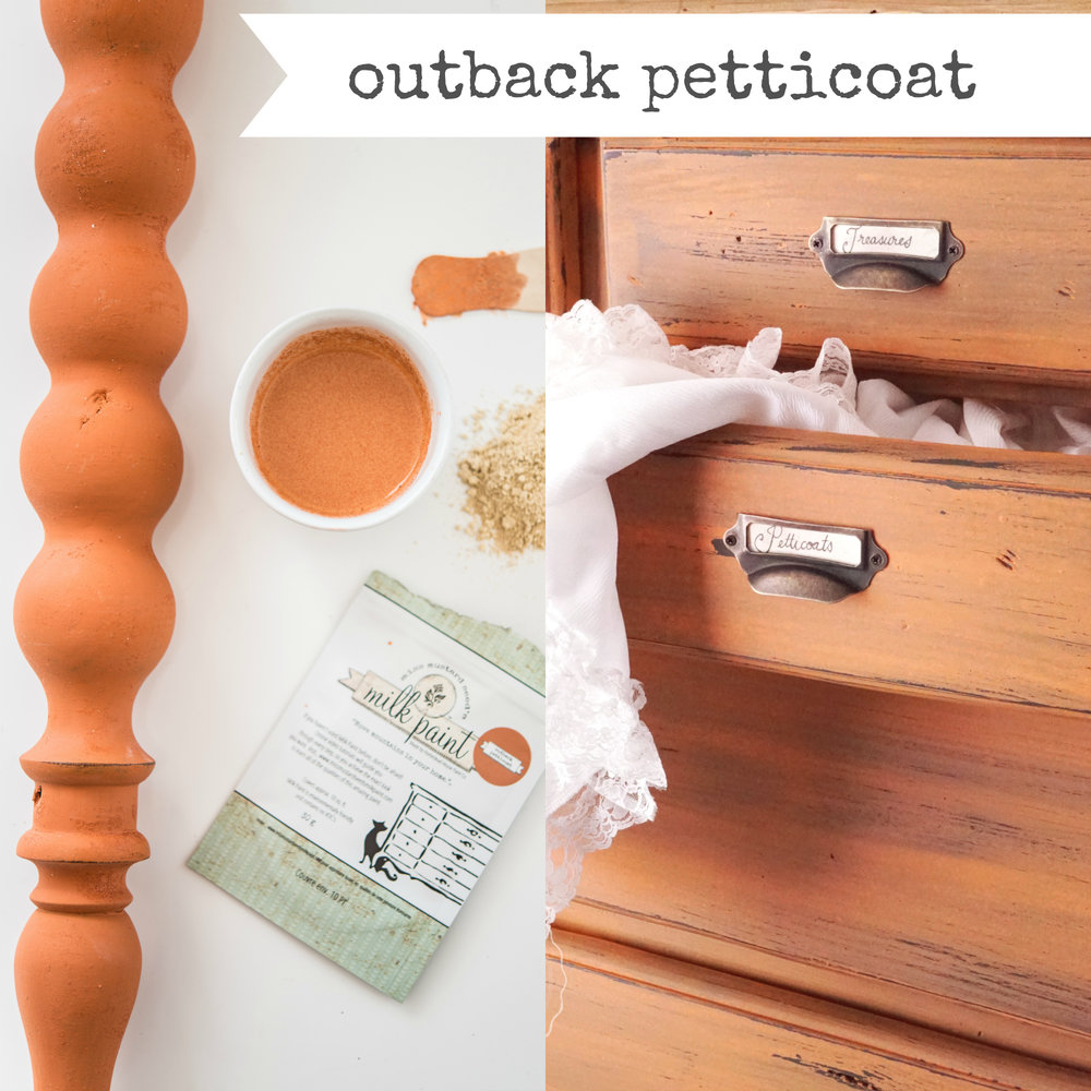 Outback Petticoat is the newest Miss Mustard Seed's Milk Paint colour. It's available on-line at My Painted Door.