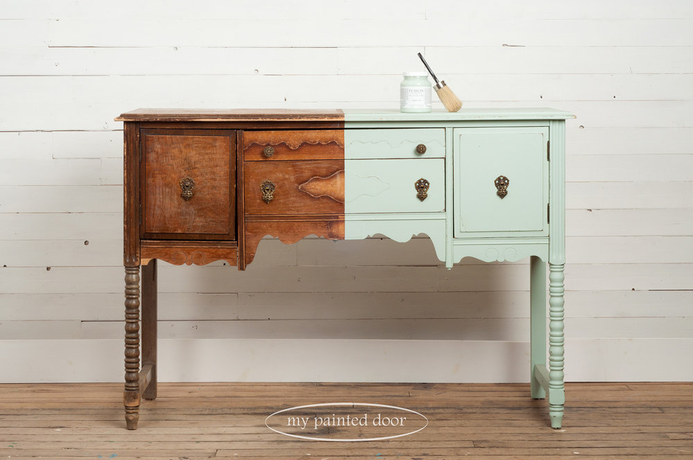 Buffet table half painted in Fusion Mineral Paint in the colour Inglenook.