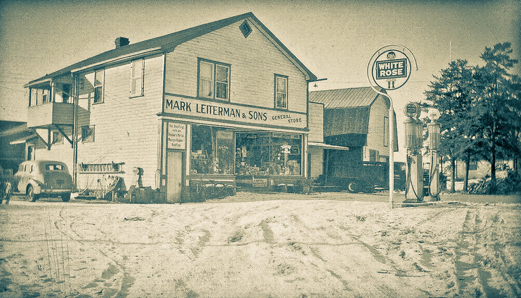 1930's photo of Mark Leiterman and Sons General Store. This is now My Painted Door located in Kakabeka Falls, Ontario.