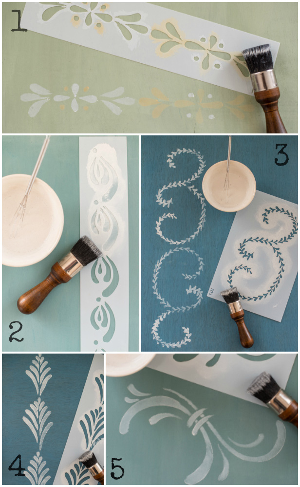 Miss Mustard Seed's hand painted stencils are available at My Painted Door