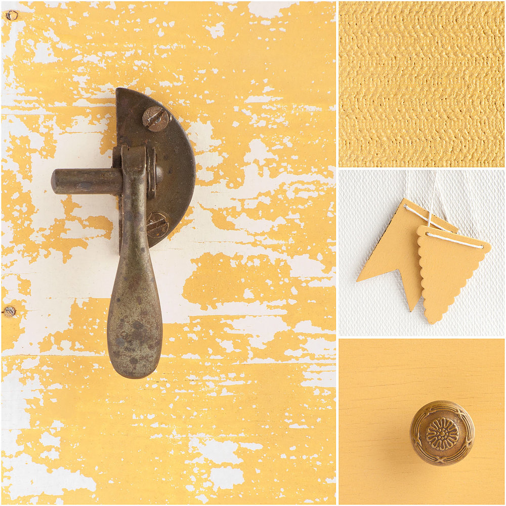 "Mustard Seed Yellow is a warm, buttery yellow.  It's bright without being too bold and it's a perfect ""happy yellow.""  Mix it with Tricycle for varying shades of coral.  It pairs well with Shutter Gray and Lucketts Green."
