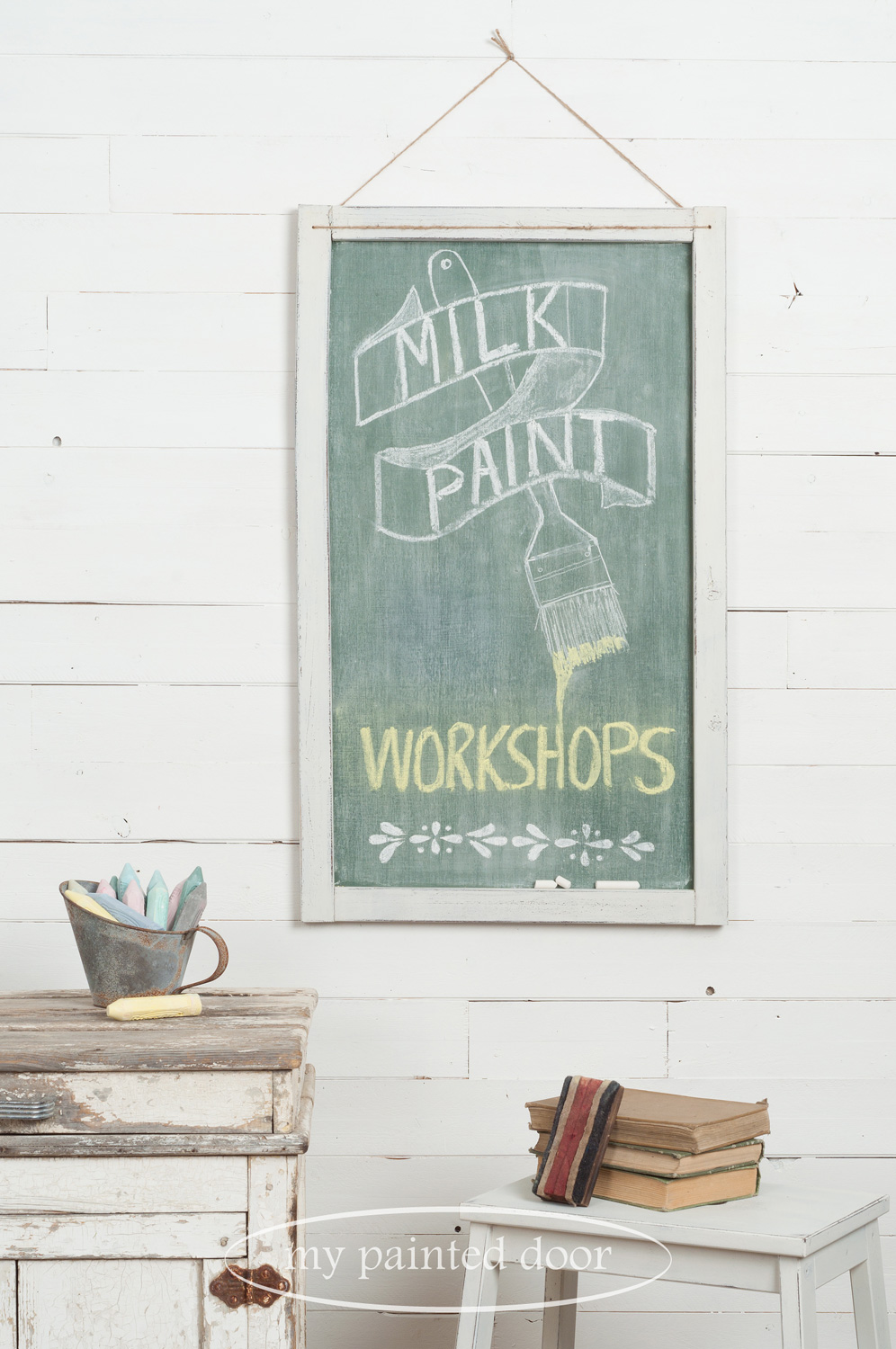 Farmhouse Chalkboard Workshop using Miss Mustard Seed's Milk Paint and Miss Mustard Seed's Hand Painted Stencils.