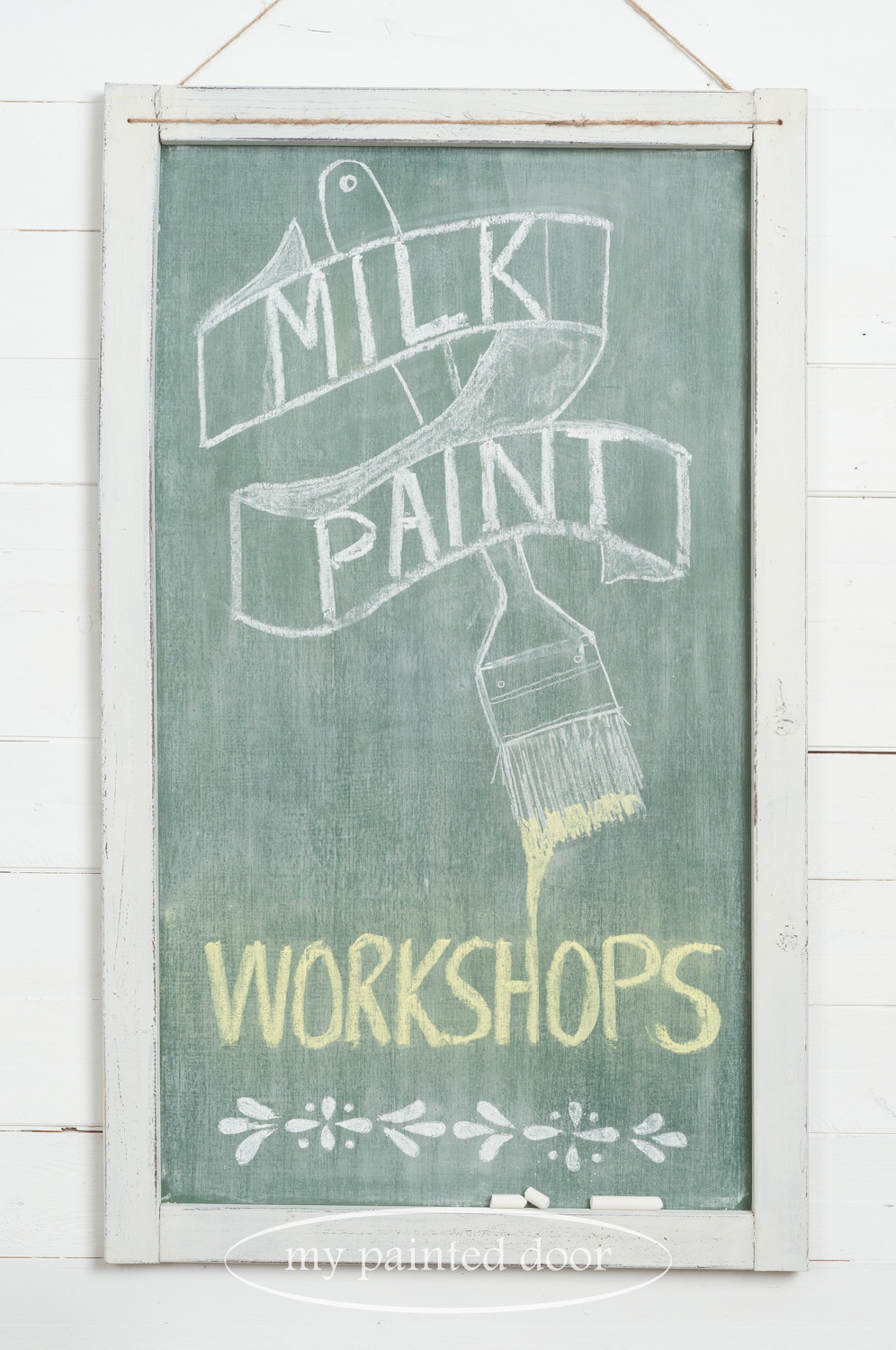 Farmhouse Chalkboard using Miss Mustard Seed's Milk Paint and Miss Mustard Seed's Hand Painted Stencils.