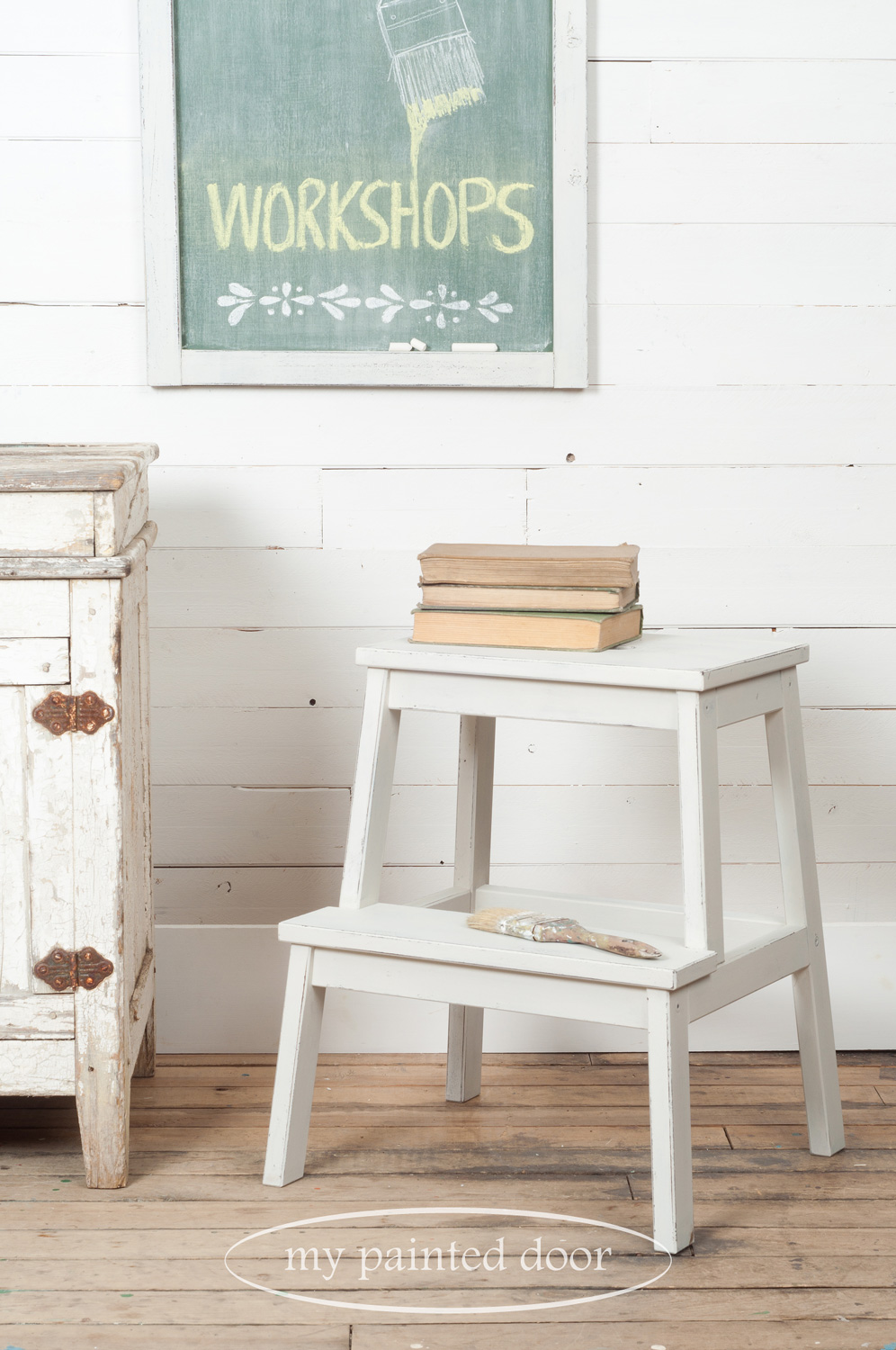 Farmhouse Chalkboard and Farmhouse Stool Workshops using Miss Mustard Seed's Milk Paint and Miss Mustard Seed's Hand Painted Stencils.